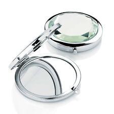 Small Compact Mirror Crystal Design Metal Double Sided Mirror Handbag Makeup