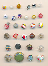 New listing 30 Vintage Small Glass Buttons; Mirror Back, Intermixed, Set in Metal +