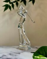 Baccarat French Crystal Augusta Golfer Figurine Metal Club Mint Signed