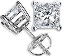 Prinzessin 1.00 Karat Moissanit Diamant Ohrstecker 14K Weiß Gold Ohrring