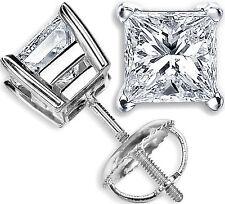 Princess 1.00 Ct Moissanite Diamond Stud 14K White Gold Earring  Hallmarked