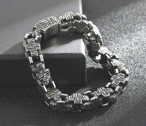 Herren Viking Armbänder für Massiv Luxus Vintage Sq Kreuze Silber 316L 22.5CM