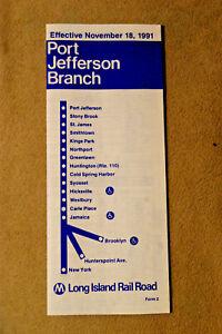 Long Island Railroad Timetable - Port Jefferson Branch - Nov 18, 1991