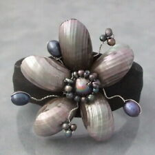 Black Pearlized Shell &Pearls Floral Style Leather Cuff