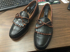 FOOT JOY Men's Handsewn black and brown Leather Kiltie Loafers w Tassle sz 10 D