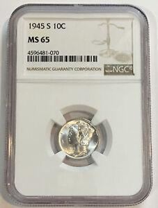 1945-S Silver Mercury Dime NGC MS65 - ENN COINS #070