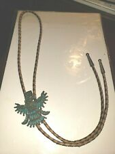 Vintage Faux Turquoise Silver Metal Bolo Bola Tie