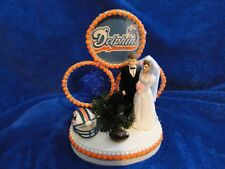 New MIAMI DOLPHINS Wedding Caketopper with Bride & Groom