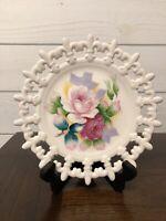 "Lefton China Hand Painted Plate Flowers Floral -8"" Diameter Lattice Edge Vintage"