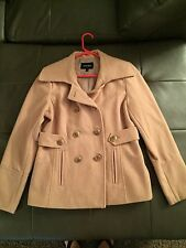 Women's Nine West Wool Double Breasted pea Coat Jacket Sz 12 Khaki Tan Worn once