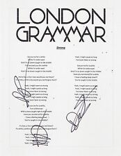 LONDON GRAMMAR GROUP SIGNED STRONG LYRIC SHEET