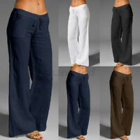 Womens Casual Elastic Waist Cotton Pants Office Work Plus Size Wide Leg Trousers