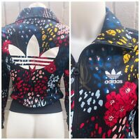 Adidas Originals Track Top Size 6 XS Women's Ladies Casual Jacket Black Floral