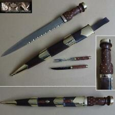 Late 19th Century Scottish Highland Officers Dirk and Cutlery Set in Brown