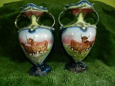 """PAIR VINTAGE HIGHLAND CATTLE VASES - 12"""" TALL - NOT WORCESTER"""