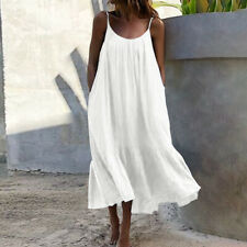 UK White 20 Womens Stappy Long Sundress Cami Dress Holiday Beach Dresses Kaftan