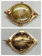Antique Brooch Foam Gold Double Gold Plated with Ruby Antique Jewellery