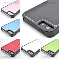 For Apple iPhone 5 5S Aluminum Metal Back Plated w/ Black Trim Hard Case Cover