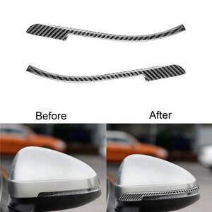 For Audi A4 B9 17-19 Carbon Fiber Rearview Mirror Anticollision Strip Cover Trim
