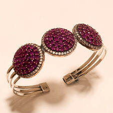 Tajikistan Ruby Gemstone Sterling Silver Turkish Hurrem Sultan Handcuff Jewelry