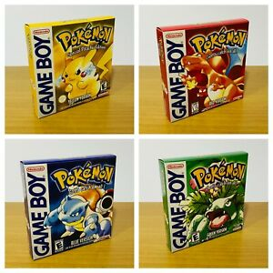GameBoy Pokemon Yellow   Green   Blue   Red - (4) Reproduced Replacement Boxes