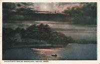 Postcard Moonlight Cochituate Lake Natick Massachusetts