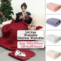 100x150cm New Hand Knitted Chunky Blanket Thick Acrylic Yarn Blanket Home   W!