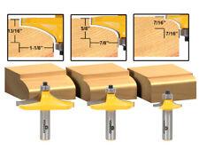 "3 Bit Thumbnail Table Edge Forming Router Bit Set - 1/2"" Shank - Yonico 13340"
