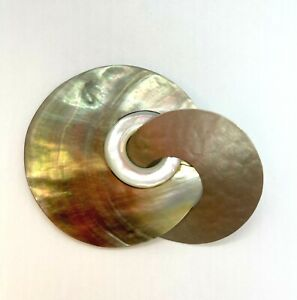 Signed FABRICE Paris Brass and Mother of Pearl Interlocking Circles Brooch
