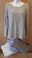 L.L. Bean Striped Sweater large Longsleeve Set Of 4 Black, White, Blue, Gray