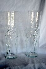 Vintage 1970's Libbey Clear Glass Highball Sculpted Naked Lady 20oz Glasses