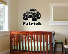 Monster Truck personalized Wall Decal name sticker nursery baby room mural kids