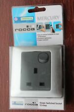 Get Homebase Rocca 1g Single 13a Plug Socket Mercury/brushed Silver Grey Insert