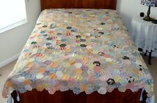 Vintage Hexagons Quilt Top Feed Sack Patchwork Cotton Fabric Hexagon Pattern