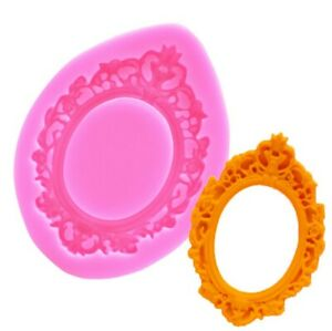 Vintage Style Mirror Picture Frame Silicone Mold Fondant Icing Cake Mold Topping