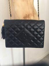 Vintage Logo Chane Quilted Chain Link Lambskin  Leather Fringe Handbag Flap Bag