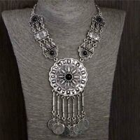 Collar Choker Necklace Chain Coin Gypsy Tribal Ethnic Style Statement Jewelry