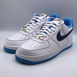 Nike Mens 11 Air Force 1 07 First Use White University Blue Shoes Sneakers 1236