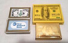 $100 Bill 24K Gold Foil Playing Cards,Double Deck Box,2 Banking Bridge Decks