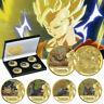 Dragon Ball Z 5 PCS Gold Commemorative Coin Goku Vegeta Collection In The Box