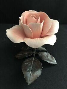 BOEHM QUEEN ELIZABETH PINK ROSE FLOWER LIMITED ISSUE PORCELAIN & BRONZE FIGURINE