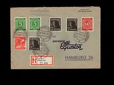Germany Cover 1947 Registered Herzogenrath to Philatelie Equator Hamburg  5p