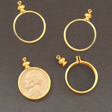 Nickel USA / 5 cent Coin Holder Bezel ~ Gold Tone charm, necklace pendant pk/10