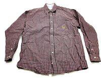 Cinch Mens Red Plaid Long Sleeve Button Front Shirt Size Medium