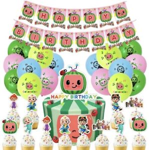 COCOMELON Happy birthday banner balloon party set AU STOCK