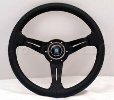 Nardi 330mm Black Steering Wheel Deep Dish Corn Black Leather Black Classic Horn