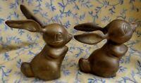 Vintage Brass Figurines Bunny Rabbit Paperweights Thumper Desk Accessory  set 2