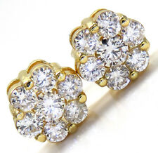 1.25ct Mens Ladies 14k Yellow Real Gold si2 Diamond Cluster Round Earrings Studs