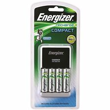 Energizer COMPACT CHARGER+ 4×AA NiMH Batteries, Charges AA, AAA & 9V - USA Brand