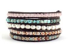 Turquoise, Jasper & Pearl Beaded Friendship Bracelet Wrap Beach Chakra Leather